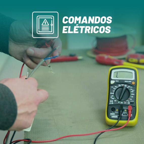 ícone do curso de comandos elétricos com aparelho elétrico no fundo