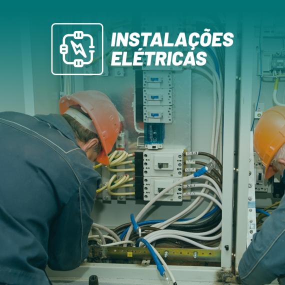ícone do curso de instalações elétricas com dois homens trabalhando em instalações elétricas no fundo