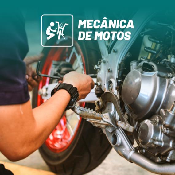 ícone do curso de mecânica de motocicletas com motocicleta no fundo