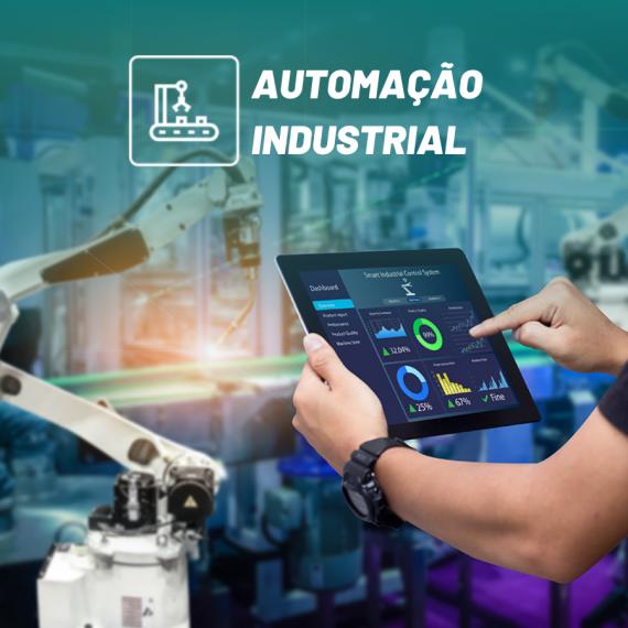 ícone do curso de automação industrial com robô no fundo