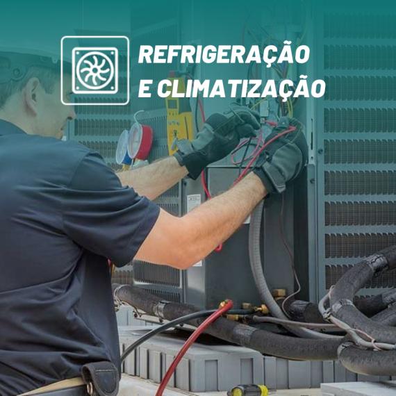 ícone do curso de refrigeração e climatização com homem consertando equipamento no fundo
